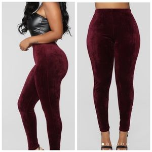 ✨OFFERS? Soft velour burgundy leggings